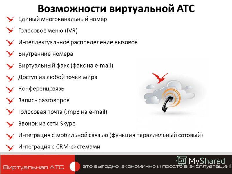 Возможности виртуальной АТС Единый многоканальный номер Голосовое меню (IVR) Интеллектуальное распределение вызовов Внутренние номера Виртуальный факс (факс на e-mail) Доступ из любой точки мира Конференцсвязь Запись разговоров Голосовая почта (.mp3