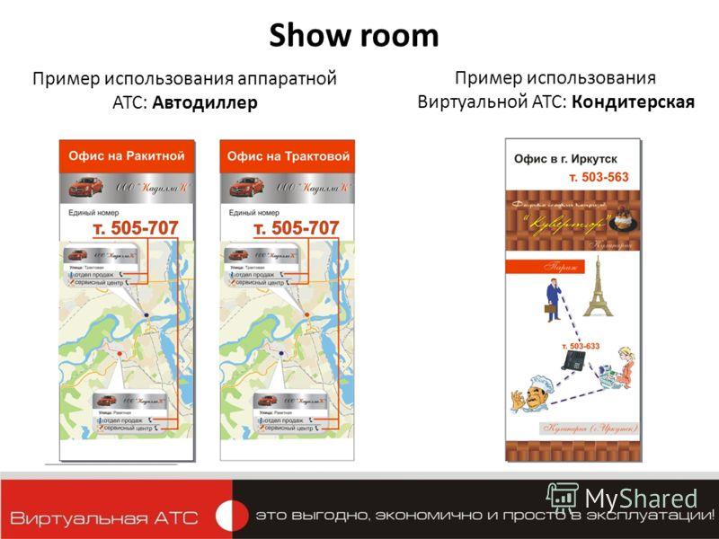 Пример использования аппаратной АТС: Автодиллер Show room Пример использования Виртуальной АТС: Кондитерская