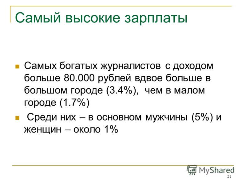 21 Самый высокие зарплаты Самых богатых журналистов с доходом больше 80.000 рублей вдвое больше в большом городе (3.4%), чем в малом городе (1.7%) Среди них – в основном мужчины (5%) и женщин – около 1%