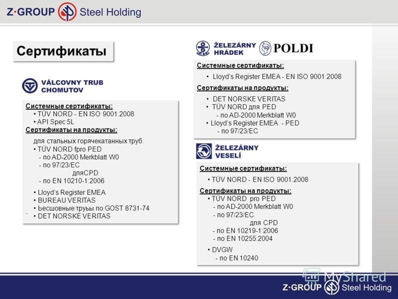 Сертификаты Системные сертификаты: Lloyds Register EMEA - EN ISO 9001:2008 Сертификаты на продукты: DET NORSKE VERITAS TÜV NORD для PED - по AD-2000 Merkblatt W0 Lloyds Register EMEA - PED - по 97/23/EC Системные сертификаты: Lloyds Register EMEA - E