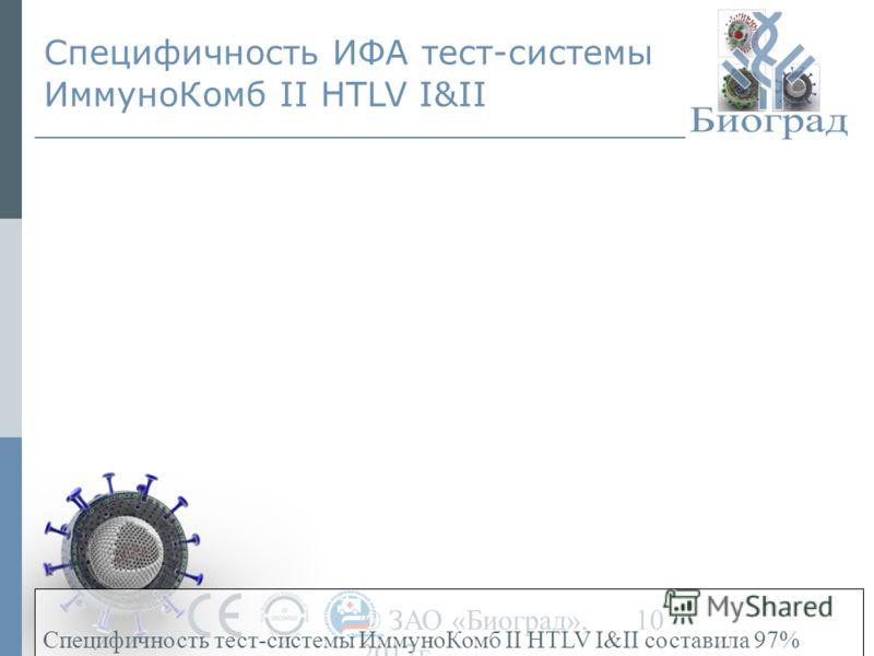 © ЗАО «Биоград», 2012г. 10 Специфичность ИФА тест-системы ИммуноКомб II HTLV I&II Специфичность тест-системы ИммуноКомб II HTLV I&II составила 97%