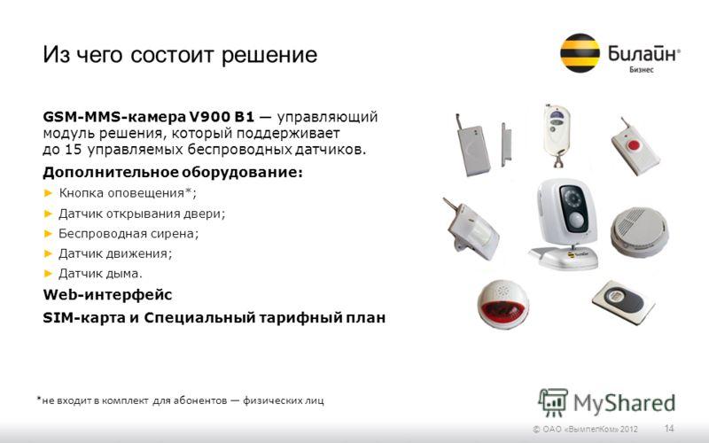 © ОАО «ВымпелКом» 2012 14 Из чего состоит решение GSM-MMS-камера V900 B1 управляющий модуль решения, который поддерживает до 15 управляемых беспроводных датчиков. Дополнительное оборудование: Кнопка оповещения*; Датчик открывания двери; Беспроводная