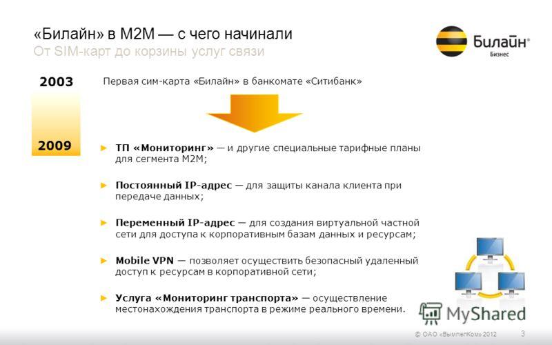 © ОАО «ВымпелКом» 2012 3 «Билайн» в М2М с чего начинали От SIM-карт до корзины услуг связи 2009 2003 Первая сим-карта «Билайн» в банкомате «Ситибанк» ТП «Мониторинг» и другие специальные тарифные планы для сегмента M2M; Постоянный IP-адрес для защиты