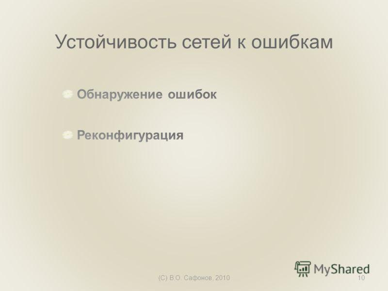 (C) В.О. Сафонов, 201010 Устойчивость сетей к ошибкам