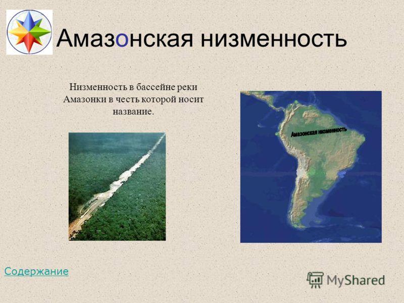 Амазонская низменность Низменность в бассейне реки Амазонки в честь которой носит название. Содержание