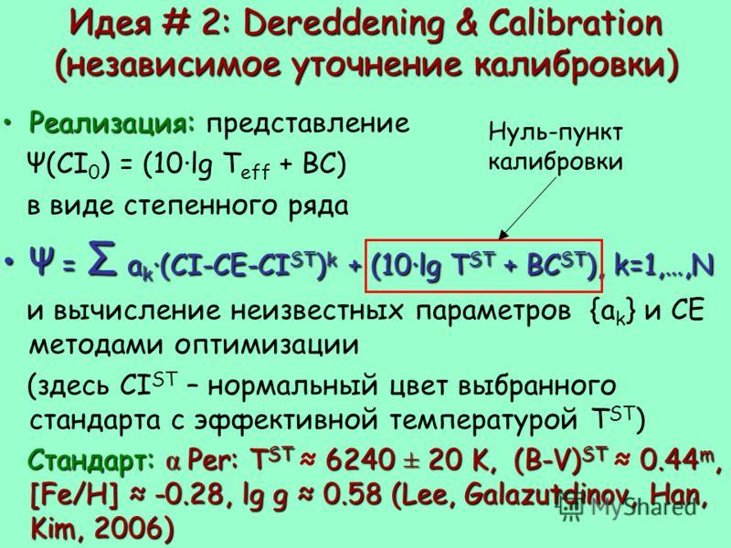 Идея # 2: Dereddening & Calibration (независимое уточнение калибровки) Реализация:Реализация: представление Ψ(CI 0 ) = (10·lg T eff + BC) в виде степенного ряда Ψ = Σ a k ·(CI-CE-CI ST ) k + (10·lg T ST + BC ST ), k=1,…,NΨ = Σ a k ·(CI-CE-CI ST ) k +