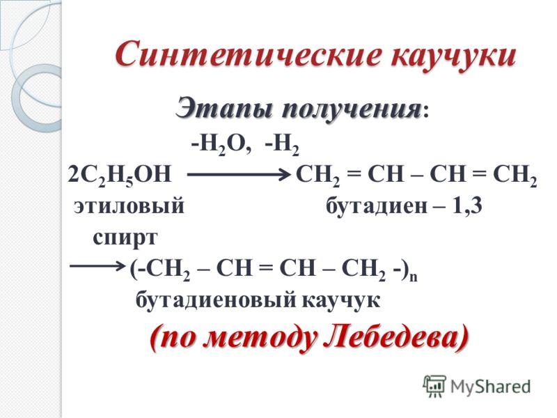 Синтетические каучуки Этапы получения Этапы получения : -Н 2 О, -Н 2 2С 2 Н 5 ОН СН 2 = СН – СН = СН 2 этиловый бутадиен – 1,3 спирт (-СН 2 – СН = СН – СН 2 -) n бутадиеновый каучук (по методу Лебедева)