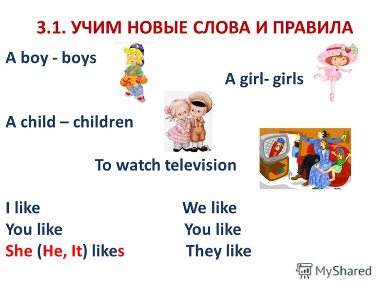 3.1. УЧИМ НОВЫЕ СЛОВА И ПРАВИЛА A boy - boys A girl- girls A child – children To watch television I like We like You like She (He, It) likes They like