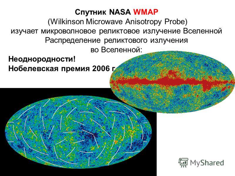 Спутник NASA WMAP (Wilkinson Microwave Anisotropy Probe) изучает микроволновое реликтовое излучение Вселенной Распределение реликтового излучения во Вселенной: Неоднородности! Нобелевская премия 2006 г