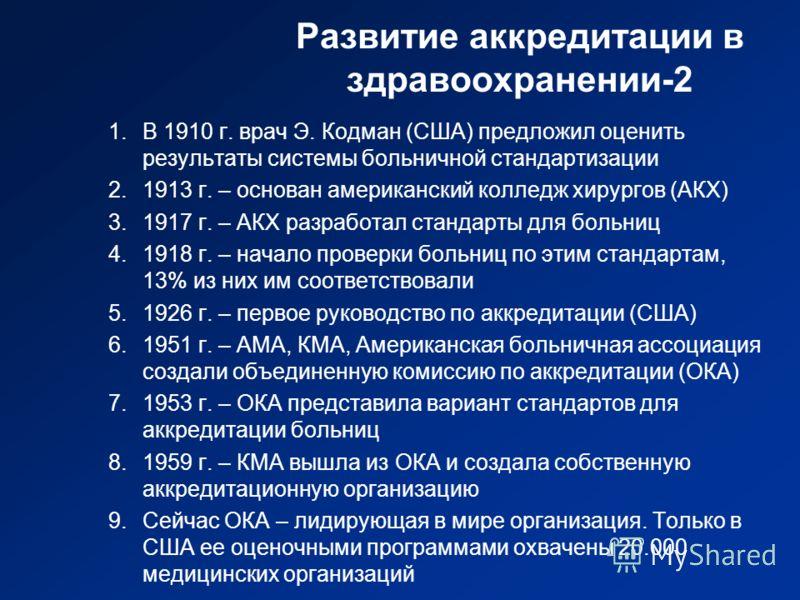 Развитие аккредитации в здравоохранении-2 1.В 1910 г. врач Э. Кодман (США) предложил оценить результаты системы больничной стандартизации 2.1913 г. – основан американский колледж хирургов (АКХ) 3.1917 г. – АКХ разработал стандарты для больниц 4.1918