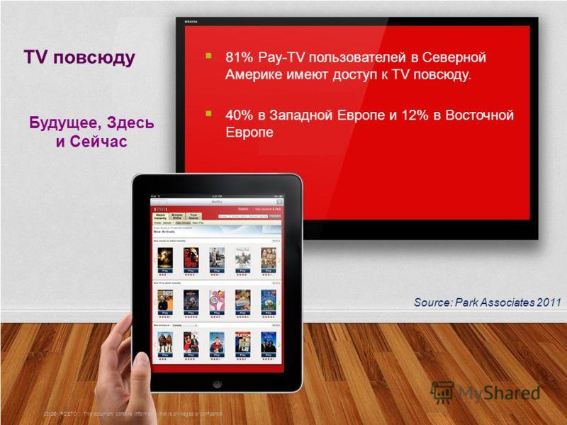 2 81% Pay-TV пользователей в Северной Америке имеют доступ к TV повсюду. 40% в Западной Европе и 12% в Восточной Европе TV повсюду Будущее, Здесь и Сейчас Source: Park Associates 2011 2012© IRDETO | This document contains information that is privileg