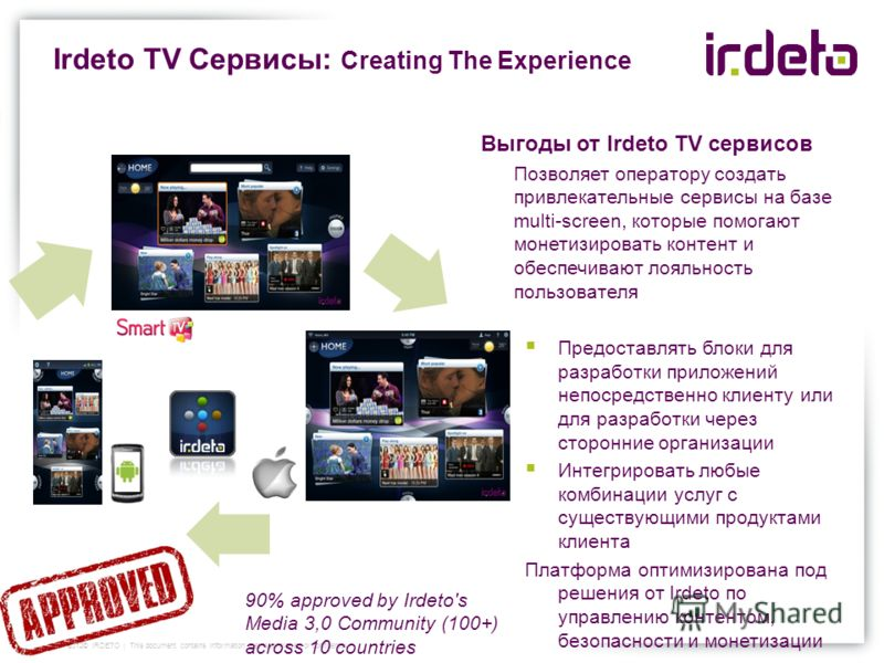 Irdeto TV Сервисы: Creating The Experience 2012© IRDETO | This document contains information that is privileged or confidential Выгоды от Irdeto TV сервисов Позволяет оператору создать привлекательные сервисы на базе multi-screen, которые помогают мо