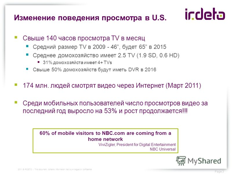 Изменение поведения просмотра в U.S. Page 3 2011 © IRDETO | This document contains information that is privileged or confidential Свыше 140 часов просмотра TV в месяц Средний размер TV в 2009 - 46, будет 65 в 2015 Среднее домохозяйство имеет 2.5 TV (