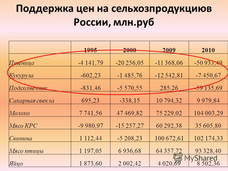 Поддержка цен на сельхозпродукциюв России, млн.руб 1995200020092010 Пшеница-4 141,79-20 256,05-11 368,06-50 933,49 Кукуруза-602,23-1 485,76-12 542,81-7 450,67 Подсолнечник-831,46-5 570,55285,26-59 135,69 Сахарная свекла695,23-338,1510 794,329 979,84