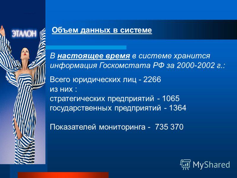 Объем данных в системе В пилотном проекте использована информация Межведомственного аналитического центра за 1999-2000 г.: свыше 700 тыс. показателей форм бухгалтерской отчетности 1364 государственных унитарных предприятий 77 субъектов Федерации 188