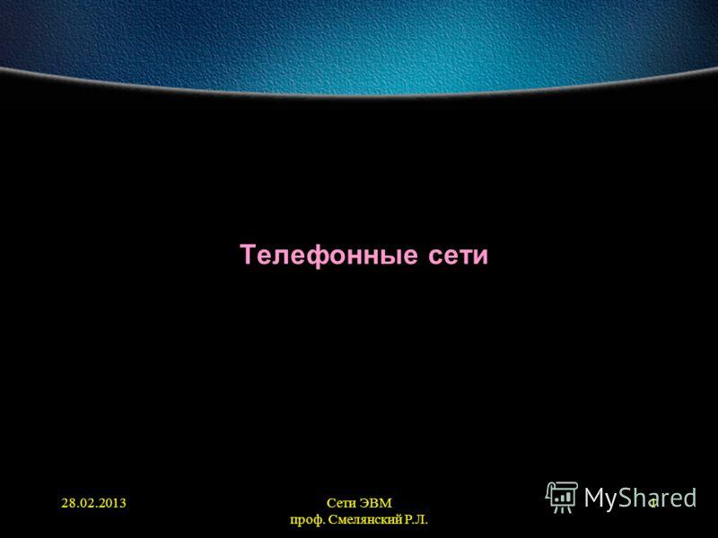 28.02.2013Сети ЭВМ проф. Смелянский Р.Л. 1 Телефонные сети
