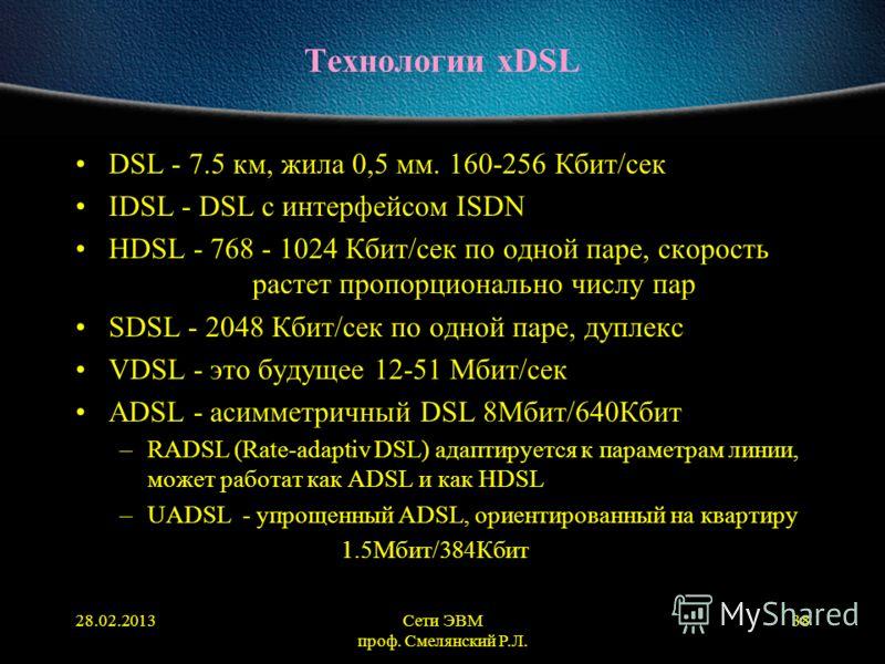 28.02.2013Сети ЭВМ проф. Смелянский Р.Л. 38 Технологии xDSL DSL - 7.5 км, жила 0,5 мм. 160-256 Кбит/сек IDSL - DSL с интерфейсом ISDN HDSL - 768 - 1024 Кбит/сек по одной паре, скорость растет пропорционально числу пар SDSL - 2048 Кбит/сек по одной па