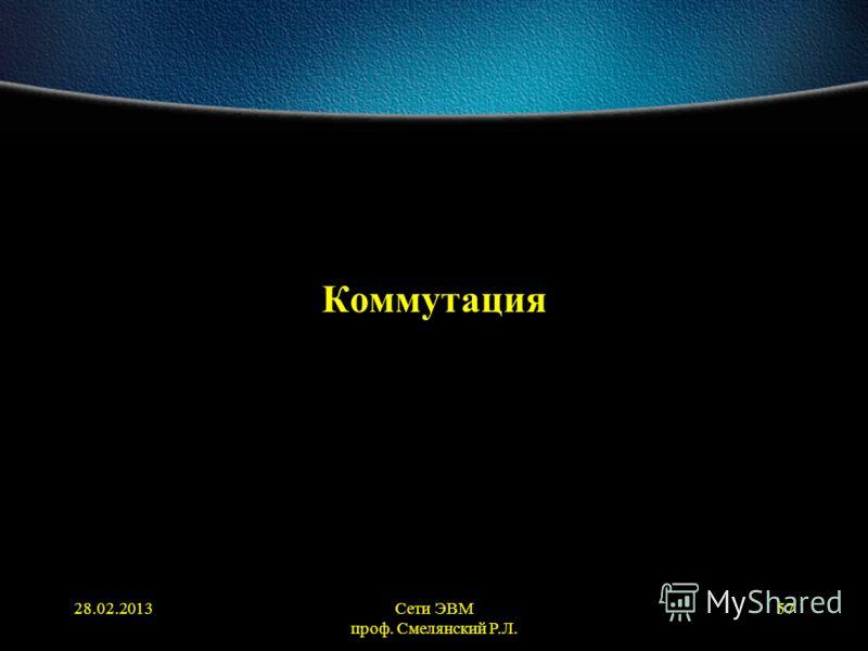 28.02.2013Сети ЭВМ проф. Смелянский Р.Л. 57 Коммутация