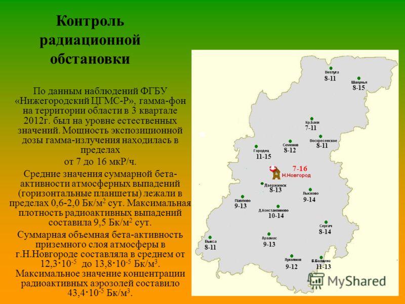 Контроль радиационной обстановки По данным наблюдений ФГБУ «Нижегородский ЦГМС-Р», гамма-фон на территории области в 3 квартале 2012г. был на уровне естественных значений. Мощность экспозиционной дозы гамма-излучения находилась в пределах от 7 до 16