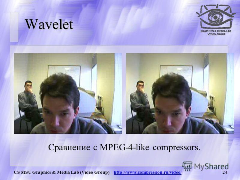 CS MSU Graphics & Media Lab (Video Group) http://www.compression.ru/video/23 Wavelet u Wavelet – одна из самых современных технологий сжатия (используется, например в JPEG-2000) u Визуальное преимущество за счет того, что пропадает блочность.