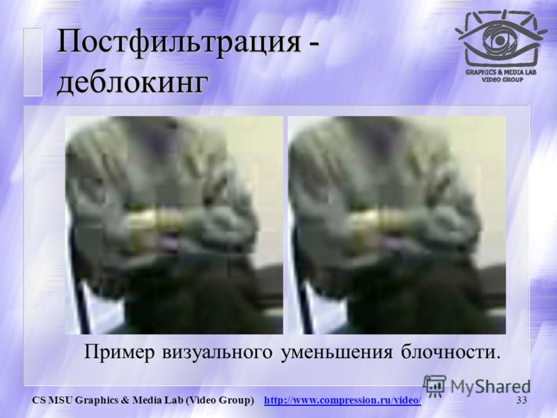 CS MSU Graphics & Media Lab (Video Group) http://www.compression.ru/video/32 Интра-фильтрация – стало