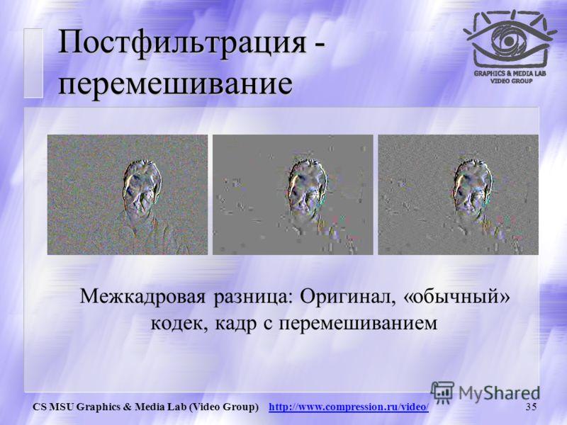 CS MSU Graphics & Media Lab (Video Group) http://www.compression.ru/video/34 Постфильтрация - дерингинг Пример визуального уменьшения рингинга.
