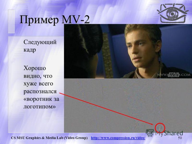 CS MSU Graphics & Media Lab (Video Group) http://www.compression.ru/video/49 Пример MV-2 Кадр из фильма «Звездные войны, Эпизод 1». Векторами показаны распознанны е вектора движения блоков.