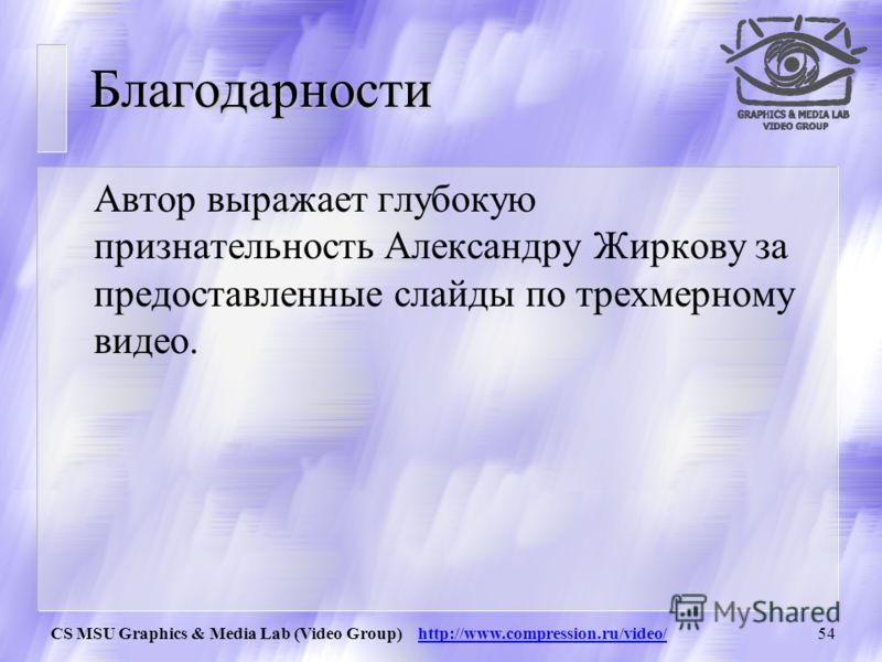 CS MSU Graphics & Media Lab (Video Group) http://www.compression.ru/video/53 Структура лекций u Раздел 1. Основные понятия в сжатии видео u Раздел 2. Построение простого видеокодека u Раздел 3. Построение мощного видеокодека u Раздел 4. Стандарты сжа
