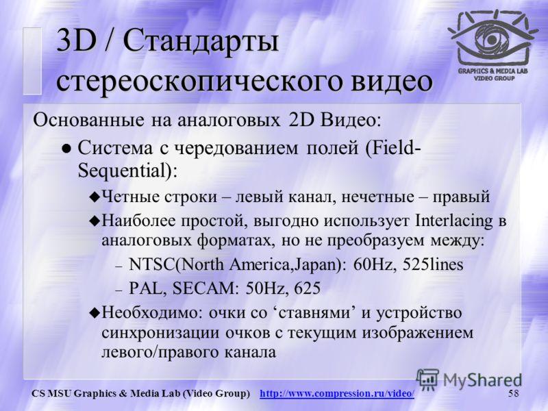CS MSU Graphics & Media Lab (Video Group) http://www.compression.ru/video/57 Подходы к 3DV Представления Стереоскопическое видео Multi-View видео Потоковая передача 3D Потоковая передача параметров лица Видео Текстуры Визуализация Обычный дисплей 3D