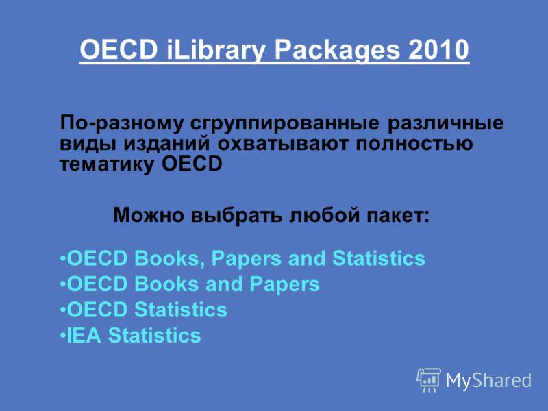 OECD iLibrary Packages 2010 По-разному сгруппированные различные виды изданий охватывают полностью тематику OECD Можно выбрать любой пакет: OECD Books, Papers and Statistics OECD Books and Papers OECD Statistics IEA Statistics