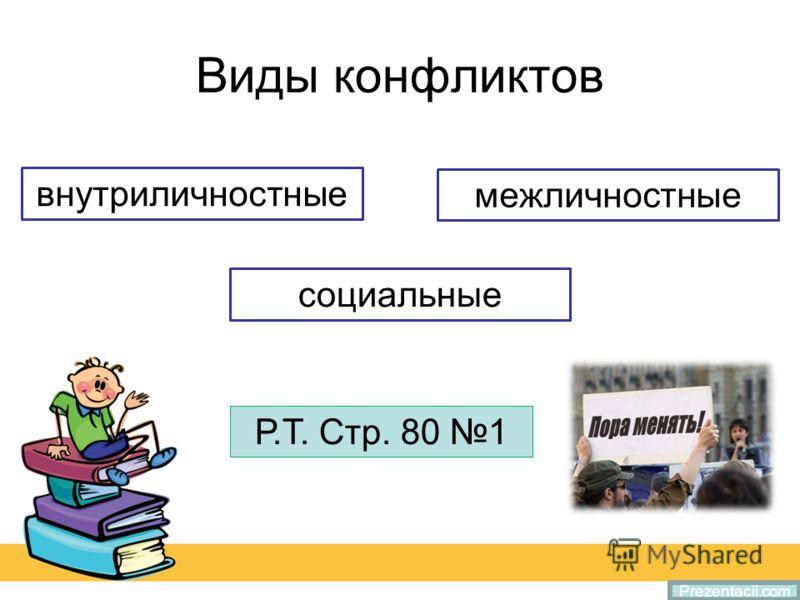 Виды конфликтов Prezentacii.com внутриличностные социальные межличностные Р.Т. Стр. 80 1