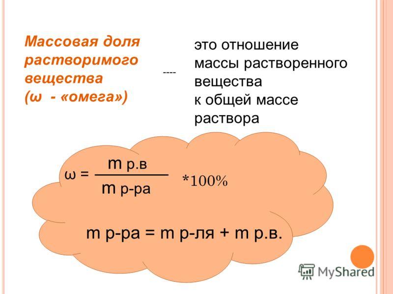 Массовая доля растворимого вещества (ω - «омега») это отношение массы растворенного вещества к общей массе раствора ω = *100% m р.в m р-ра m р-ра = m р-ля + m р.в. ----