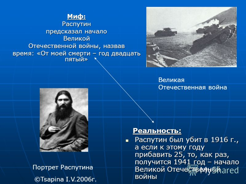 Миф:Распутин предсказал начало Великой Отечественной войны, назвав время: «От моей смерти – год двадцать пятый» Реальность: Реальность: Распутин был убит в 1916 г., а если к этому году прибавить 25, то, как раз, получится 1941 год – начало Великой От