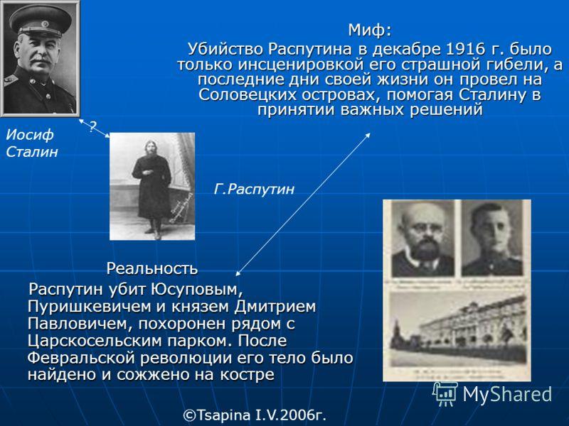 Миф: Убийство Распутина в декабре 1916 г. было только инсценировкой его страшной гибели, а последние дни своей жизни он провел на Соловецких островах, помогая Сталину в принятии важных решений Реальность Реальность Распутин убит Юсуповым, Пуришкевиче
