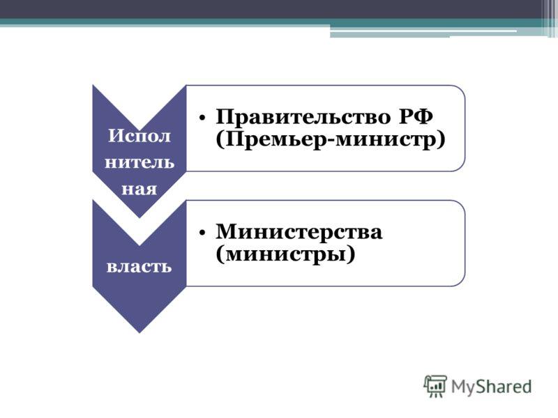 Испол нитель ная Правительство РФ (Премьер-министр) власть Министерства (министры)