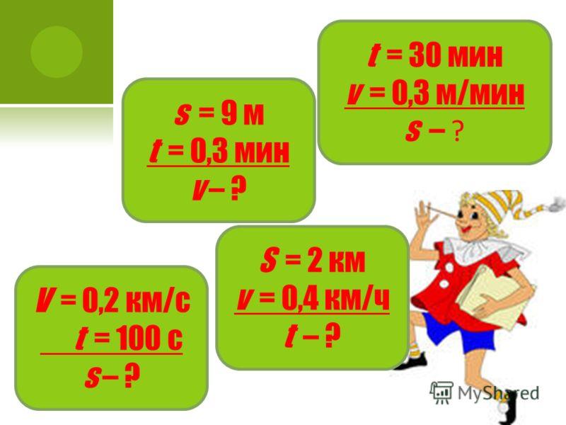 t = 30 мин v = 0,3 м/мин s – ? s = 9 м t = 0,3 мин v – ? V = 0,2 км/с t = 100 с s – ? S = 2 км v = 0,4 км/ч t – ?