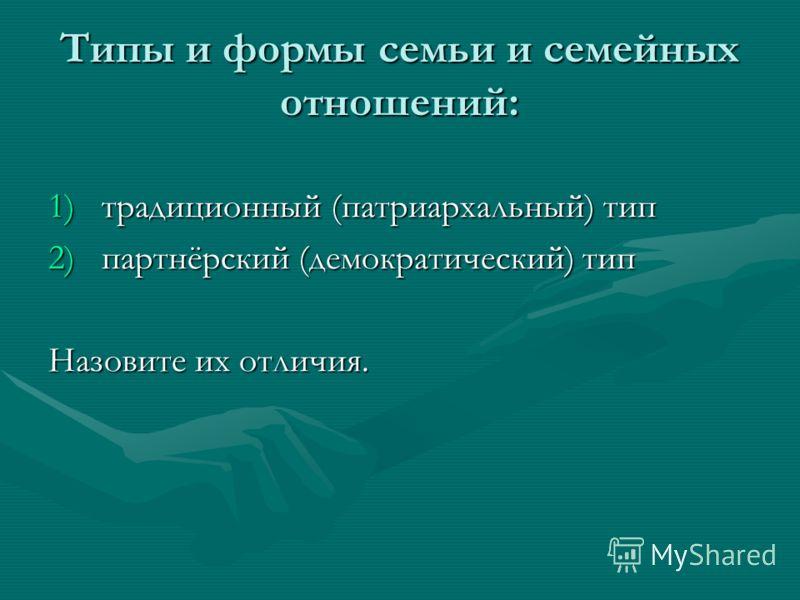 Типы и формы семьи и семейных отношений: 1)традиционный (патриархальный) тип 2)партнёрский (демократический) тип Назовите их отличия.