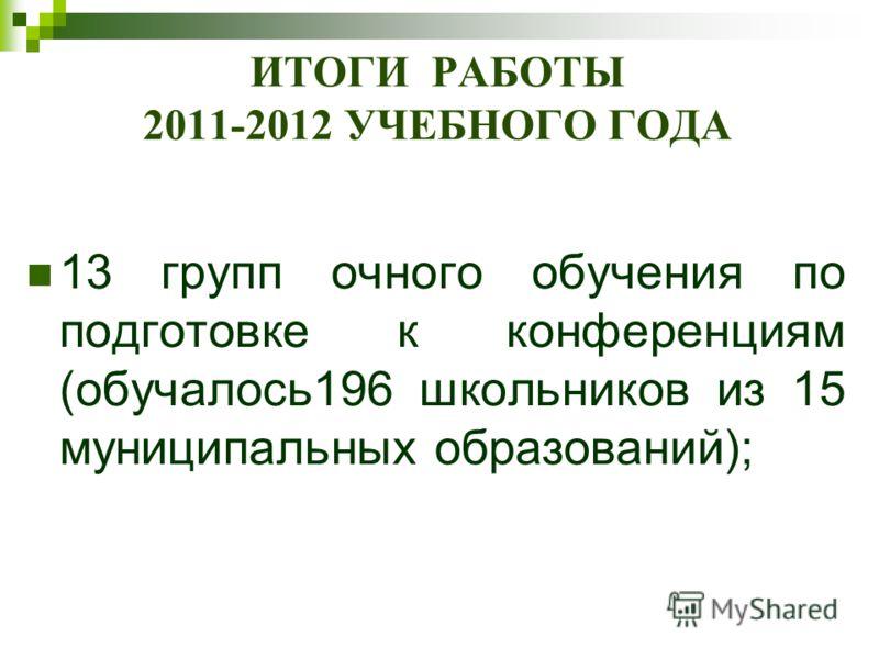 ИТОГИ РАБОТЫ 2011-2012 УЧЕБНОГО ГОДА 13 групп очного обучения по подготовке к конференциям (обучалось196 школьников из 15 муниципальных образований);