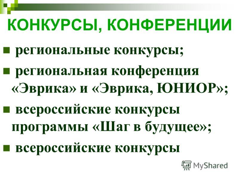 КОНКУРСЫ, КОНФЕРЕНЦИИ региональные конкурсы; региональная конференция «Эврика» и «Эврика, ЮНИОР»; всероссийские конкурсы программы «Шаг в будущее»; всероссийские конкурсы