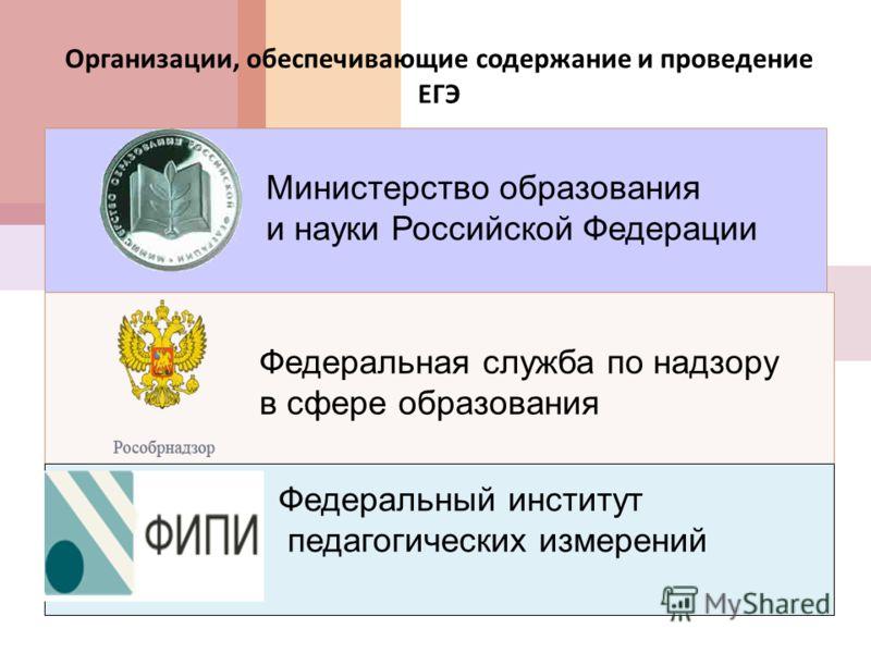 Организации, обеспечивающие содержание и проведение ЕГЭ Министерство образования и науки Российской Федерации Федеральная служба по надзору в сфере образования Федеральный институт педагогических измерений