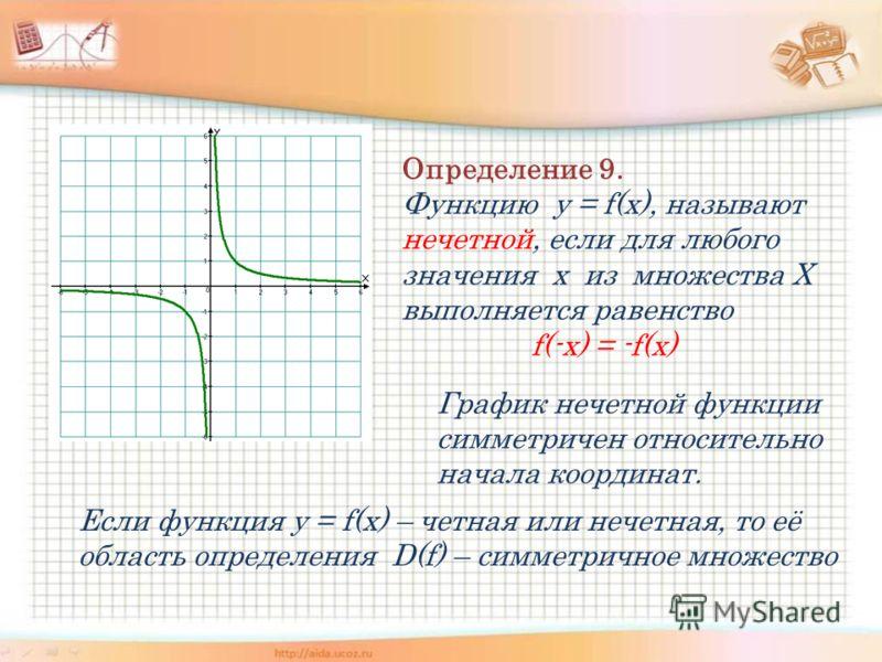 Определение 9. Функцию y = f(x), называют нечетной, если для любого значения х из множества Х выполняется равенство f(-x) = -f(x) График нечетной функции симметричен относительно начала координат. Если функция y = f(x) – четная или нечетная, то её об