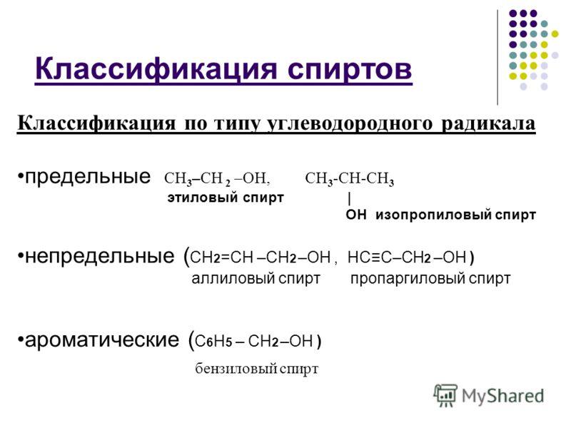 Классификация спиртов Классификация по типу углеводородного радикала предельные СН 3 –CH 2 –ОН, СН 3 -СН-СН 3 этиловый спирт | ОН изопропиловый спирт непредельные ( СН 2 =СН –СН 2 –ОН, НСС–СН 2 –ОН ) аллиловый спирт пропаргиловый спирт ароматические