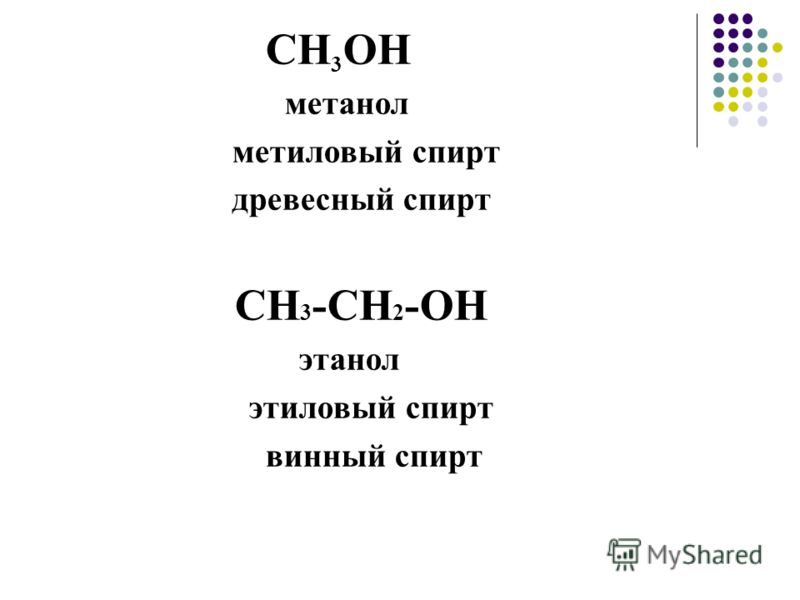 CH 3 OH метанол метиловый спирт древесный спирт СН 3 -СН 2 -ОН этанол этиловый спирт винный спирт