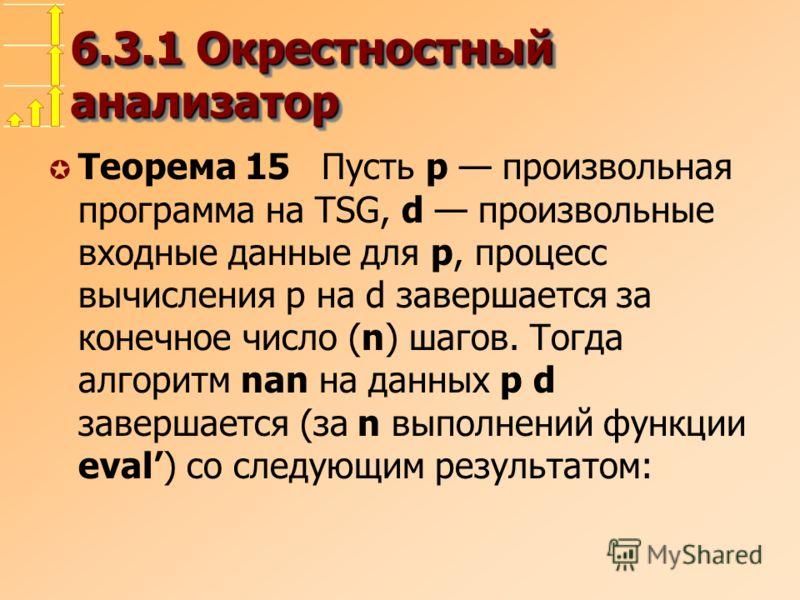 6.3.1 Окрестностный анализатор µ Теорема 15 Пусть p произвольная программа на TSG, d произвольные входные данные для p, процесс вычисления p на d завершается за конечное число (n) шагов. Тогда алгоритм nan на данных p d завершается (за n выполнений ф