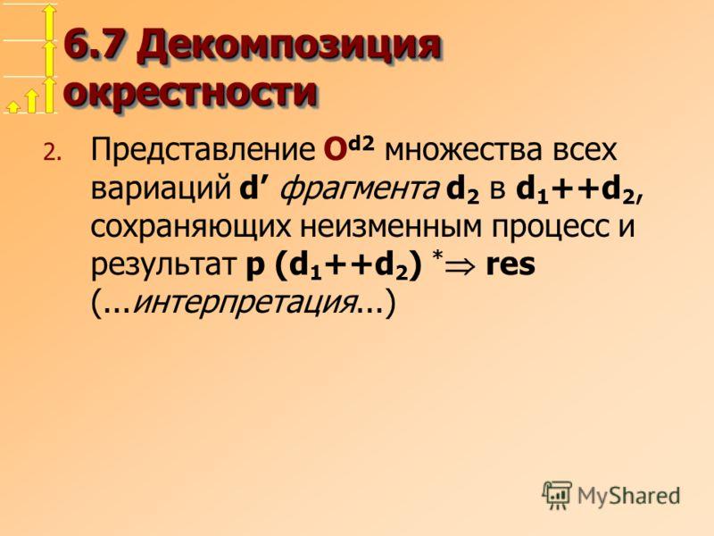 6.7 Декомпозиция окрестности 2. Представление O d2 множества всех вариаций d фрагмента d 2 в d 1 ++d 2, сохраняющих неизменным процесс и результат p (d 1 ++d 2 ) * res (...интерпретация...)
