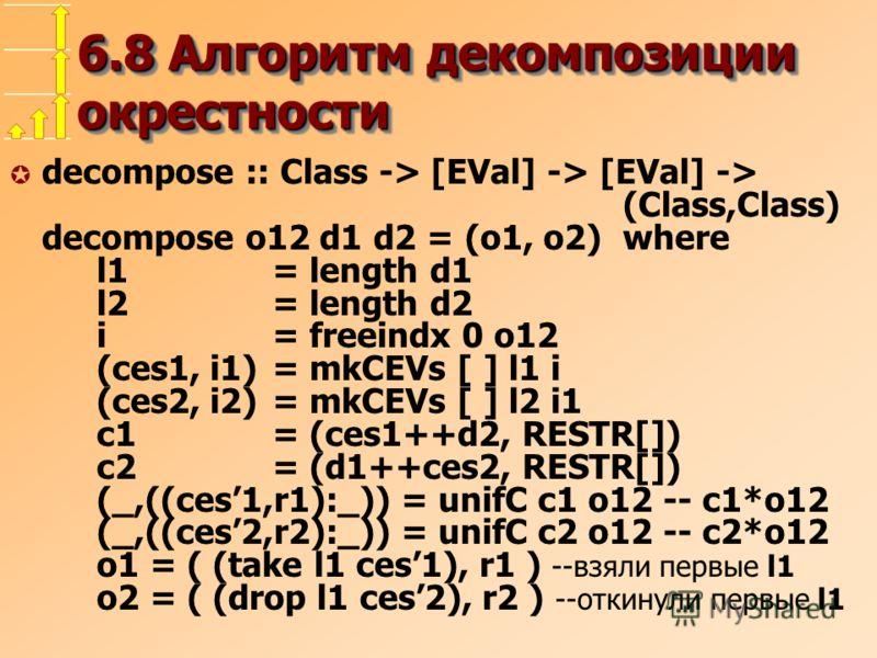 6.8 Алгоритм декомпозиции окрестности µ decompose :: Class -> [EVal] -> [EVal] -> (Class,Class) decompose o12 d1 d2 = (o1, o2)where l1= length d1 l2= length d2 i= freeindx 0 o12 (ces1, i1) = mkCEVs [ ] l1 i (ces2, i2)= mkCEVs [ ] l2 i1 c1= (ces1++d2,