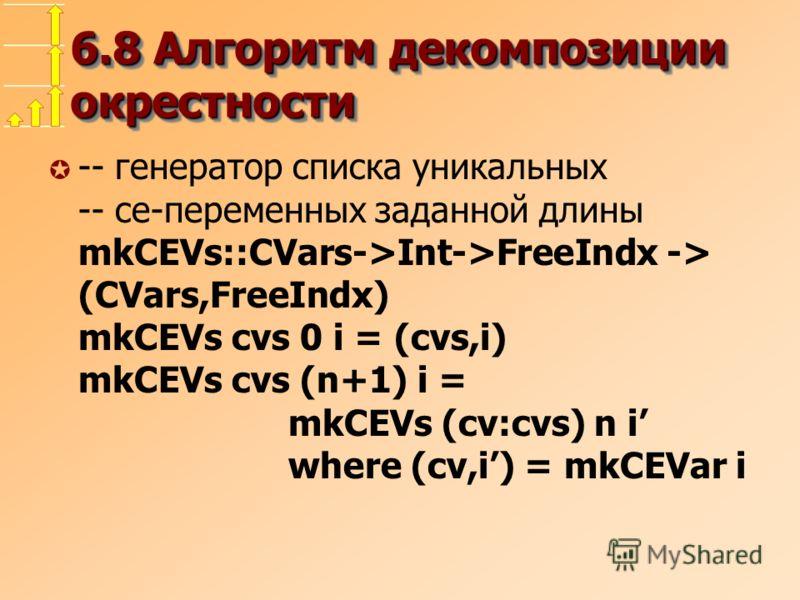 6.8 Алгоритм декомпозиции окрестности µ -- генератор списка уникальных -- ce-переменных заданной длины mkCEVs::CVars->Int->FreeIndx -> (CVars,FreeIndx) mkCEVs cvs 0 i = (cvs,i) mkCEVs cvs (n+1) i = mkCEVs (cv:cvs) n i where (cv,i) = mkCEVar i