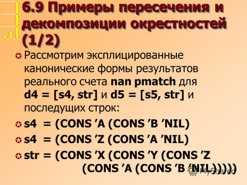 6.9 Примеры пересечения и декомпозиции окрестностей (1/2) µ Рассмотрим эксплицированные канонические формы результатов реального счета nan pmatch для d4 = [s4, str] и d5 = [s5, str] и последущих строк: µ s4 = (CONS A (CONS B NIL) µ s4 = (CONS Z (CONS