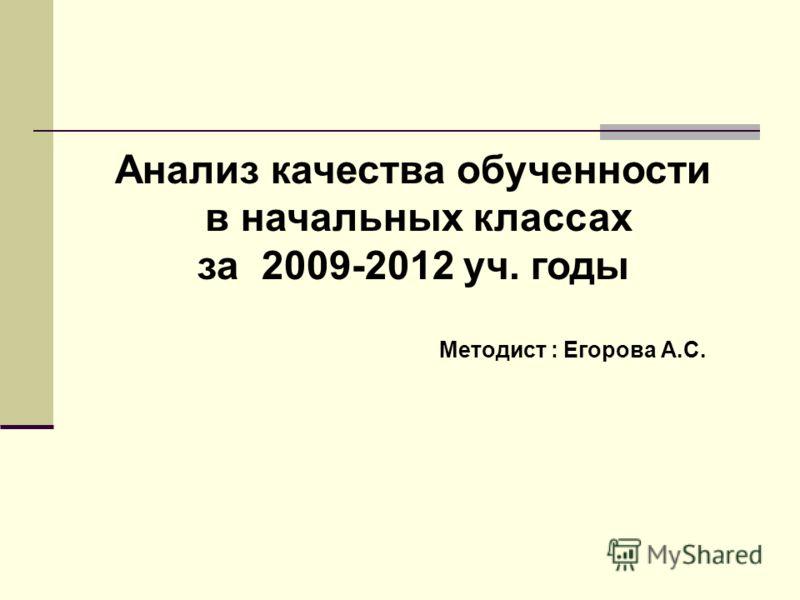 Анализ качества обученности в начальных классах за 2009-2012 уч. годы Методист : Егорова А.С.