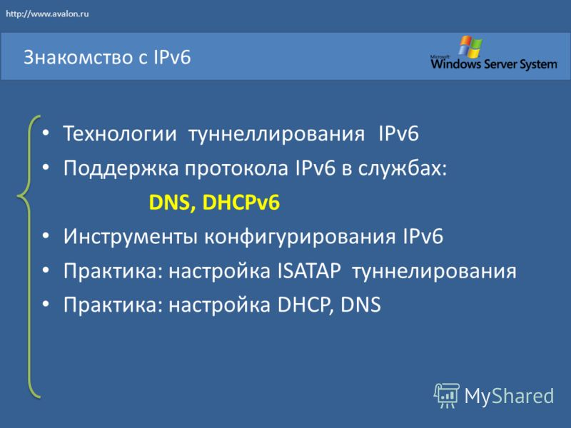 Технологии туннеллирования IPv6 Поддержка протокола IPv6 в службах: DNS, DHCPv6 Инструменты конфигурирования IPv6 Практика: настройка ISATAP туннелирования Практика: настройка DHCP, DNS Знакомство с IPv6 http://www.avalon.ru